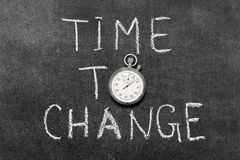 Time to change. Concept handwritten on chalkboard with vintage precise stopwatch used instead of O Stock Photography