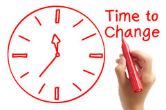 Time to change. Hand with red marker and the concept of 'Time to change'. Isolated on white background Royalty Free Stock Images