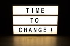 Time to change light box sign board. On wooden table royalty free stock image
