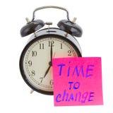 Time to change. Sticker on alarm clock Stock Photo