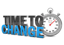 Time To Change Stopwatch. Stopwatch with text Time To Change. White background vector illustration