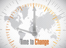 Time to change world map illustration design Royalty Free Stock Photo