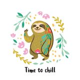 Time to chill. Cute vector sloth bear animal character. Vector illustration. Time to chill. Lazy sloth character. Decorative cartoon animal illustration in stock illustration