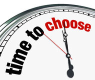 Time to Choose - Clock Reminds to Decide Stock Photos