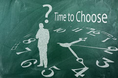 Time to choose. Concept on green blackboard Royalty Free Stock Image