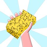 Time to clean - Hand holding sponge Stock Images