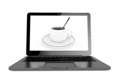 Time to coffee break concept. Modern Laptop with cup of coffee o Stock Photography