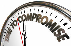 Time to Compromise Clock Negotiate Words. 3d Illustration Stock Image