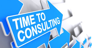 Time To Consulting - Text on Blue Cursor. 3D. Stock Image