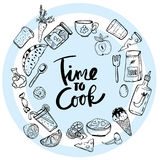 Time to Cook Lettering Hand drawn illustration royalty free illustration