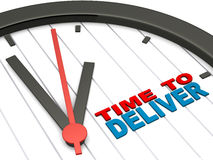 Time to deliver. Text on dial of a clock, concept of business delivery and results from action vector illustration
