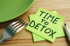 Time to detox concept. Fork and green plate stock photos
