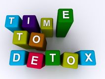 Time to detox sign. Colorful tall letter blocks spelling the words time to detox vector illustration
