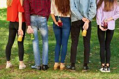 Time to detox. Youth with fruit juice cocktails Royalty Free Stock Image