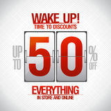 Time to discounts -50% sale coupon. Time to discounts -50% sale coupon in shape of analog flip clock Royalty Free Stock Photo