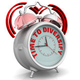Time to diversify. The alarm clock with an inscription. Alarm clock with the words `TIME TO DIVERSIFY`. 3D Illustration Stock Images