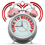 Time to diversify. The alarm clock with an inscription. Alarm clock with the words `TIME TO DIVERSIFY`. 3D Illustration Royalty Free Stock Photo