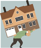 Time to downsize. Tired elderly person carrying a huge house on his back as a metaphor for need to downsize, EPS 8 vector illustration Royalty Free Stock Image