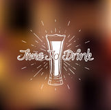 Time to drink. Beer glass. Vector illustration. Time to drink. Beer glass. Isolated Vector illustration Royalty Free Stock Image