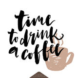 Time to drink coffee poster. Stock Image