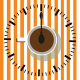 Time to drink coffee. Watch. Coffee cup  illustration. Sketch illustration of a cup of coffee in vintage style Stock Photos