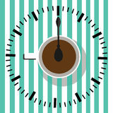 Time to drink coffee. Watch. Coffee cup  illustration. Sketch illustration of a cup of coffee in vintage style Royalty Free Stock Image
