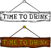 Time to drink label. Hand drawn design element. engraving style. Vector illustration. Invitation to a party - time to drink Royalty Free Stock Photography