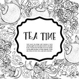 Time to drink tea. The square monochrome fashion card Stock Images