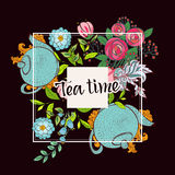 Time to drink tea. Trendy poster Royalty Free Stock Photo