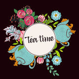 Time to drink tea. Trendy poster Royalty Free Stock Photos
