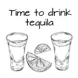 Time to drink tequila. Tequila party. Vintage engraving illustration for label, poster, invitation to a party - time to drink.  Hand drawn design element on Royalty Free Stock Photo