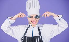 Time to eat. Appetite and taste. Traditional culinary. Professional cook of culinary school. Culinary arts academy. Culinary school concept. Woman professional royalty free stock images