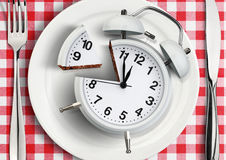 Time to eat concept, cut clock on plate. top view. Time to eat concept, cut clock on plate royalty free stock photo