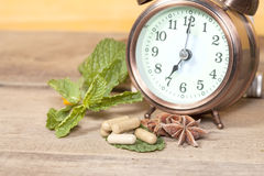 Time to eat Organic Herb capsule medicine Royalty Free Stock Photos