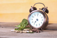 Time to eat Organic Herb capsule Royalty Free Stock Photos