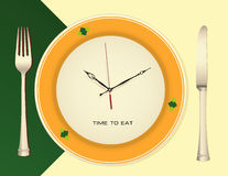 Time to eat. Plate as a clock with knife and fork.. Vector illustration vector illustration