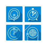 Time to eat. Plate dish with forks and knifes icons.  Crosswise Stock Photos