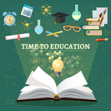 Time to education open book school subjects Stock Photo