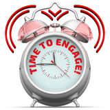 Time to engage! The alarm clock with an inscription Royalty Free Stock Photo