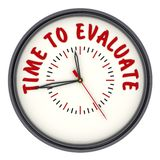 Time to evaluate. Clock with text. Analog Clock with red text TIME TO EVALUATE. Isolated. 3D Illustration stock illustration