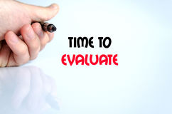Time to evaluate text concept. Isolated over white background Stock Image