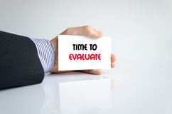 Time to evaluate text concept. Isolated over white background Stock Photography