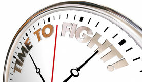 Time to Fight Back Clock Action Protest Defend. 3d Illustration Stock Photography