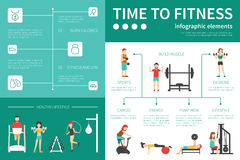 Time To Fitness infographic flat vector illustration. Presentation Concept Royalty Free Stock Photography