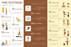 Time To Fitness infographic flat vector illustration. Presentation Concept Royalty Free Stock Images