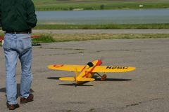 Time to flight. Ready to flight RC plane stock photo