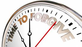 Time to Forgive Clock Forget Absolve Reconcile Sorry. 3d Illustration Royalty Free Stock Photo
