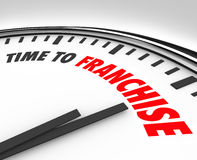 Time to Franchise New Business Opportunity License Brand Startup. Time to Franchise words on a clock to illustrate a new business opportunity of licensing an Stock Photography