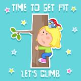 Time to get fit card - cute little girl and sports - tree climbing stock illustration