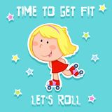 Time to get fit - cute little girl and sports - roller skating royalty free illustration